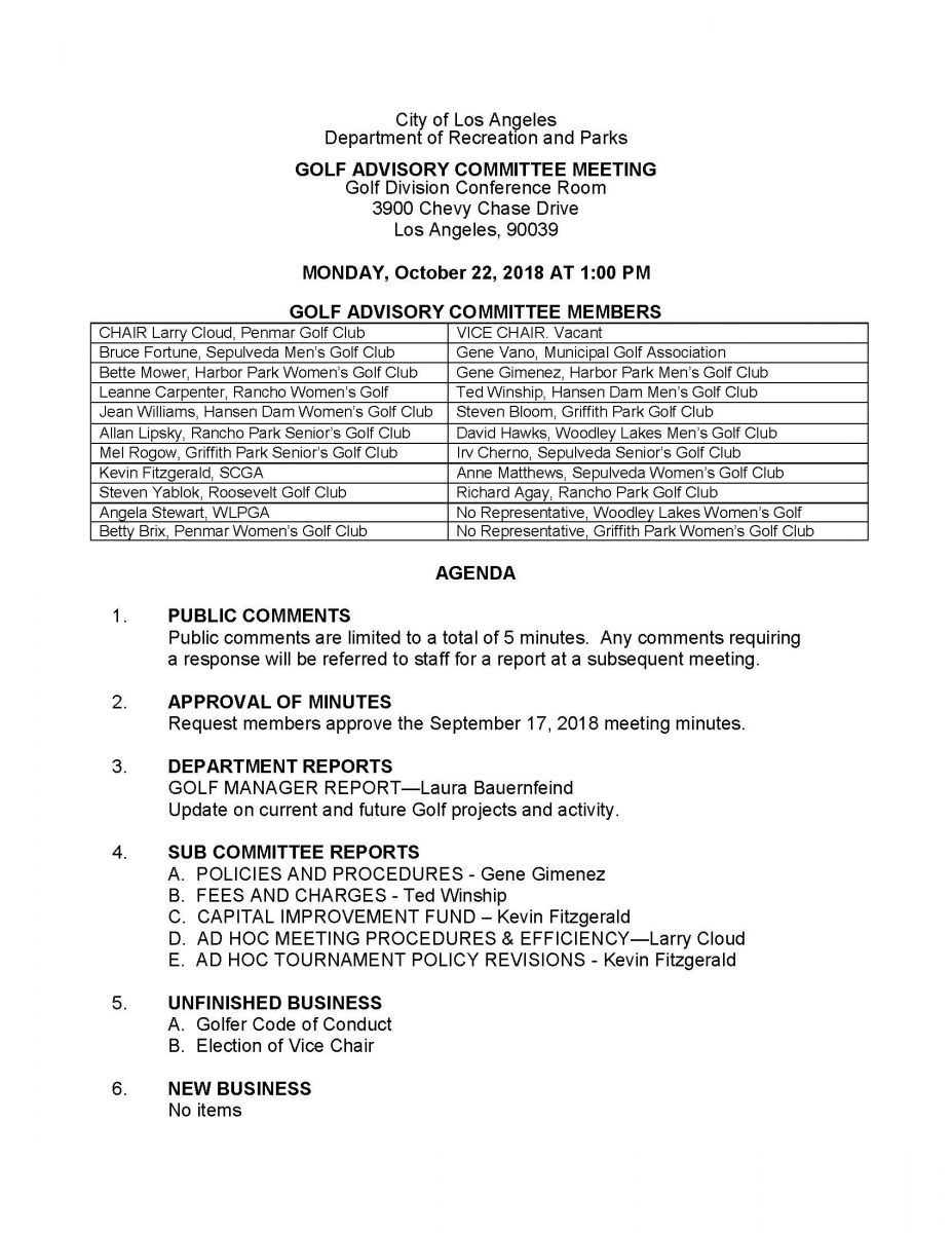 First page of a notice for City of Los Angeles Golf Advisory Committee Meeting