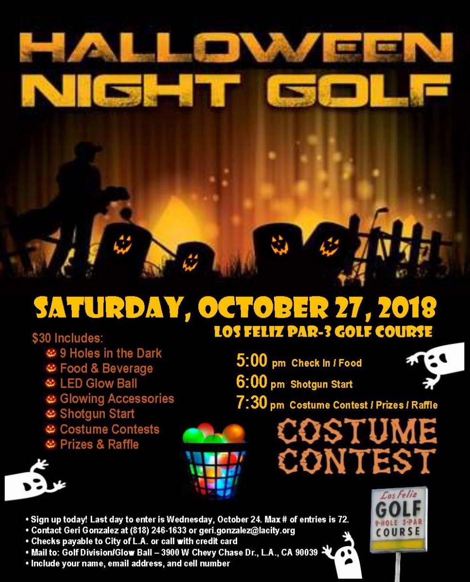 Flyer for City of Los Angeles Halloween Night Golf