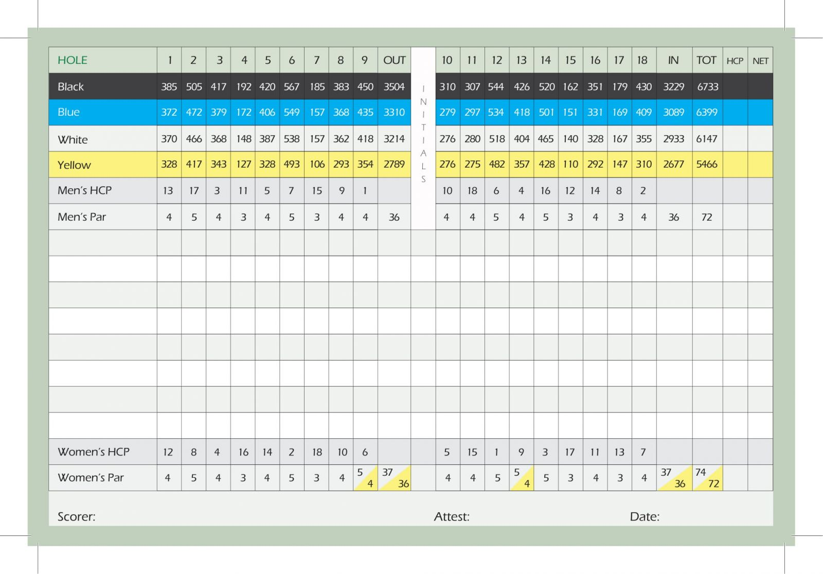 Hansen Dam Golf Course scorecard inside
