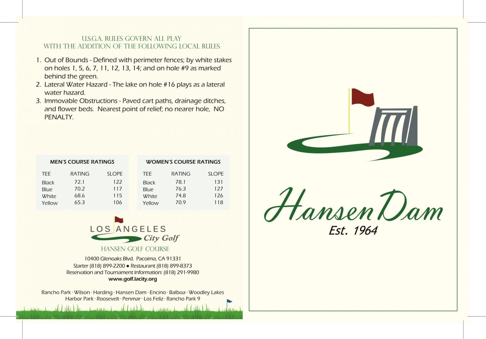 Hansen Dam Golf Course scorecard outside