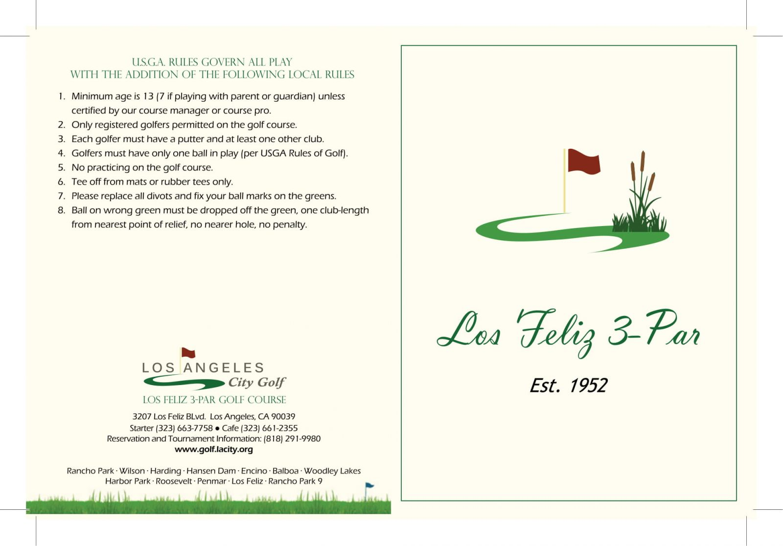 Los Feliz 3-Par Golf Course scorecard outside