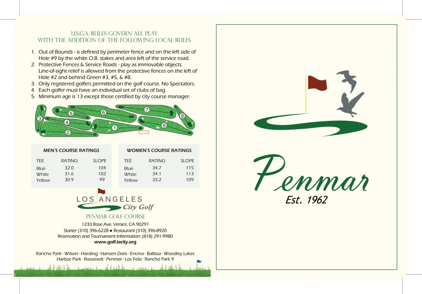 Penmar Municipal Golf Course scorecard outside