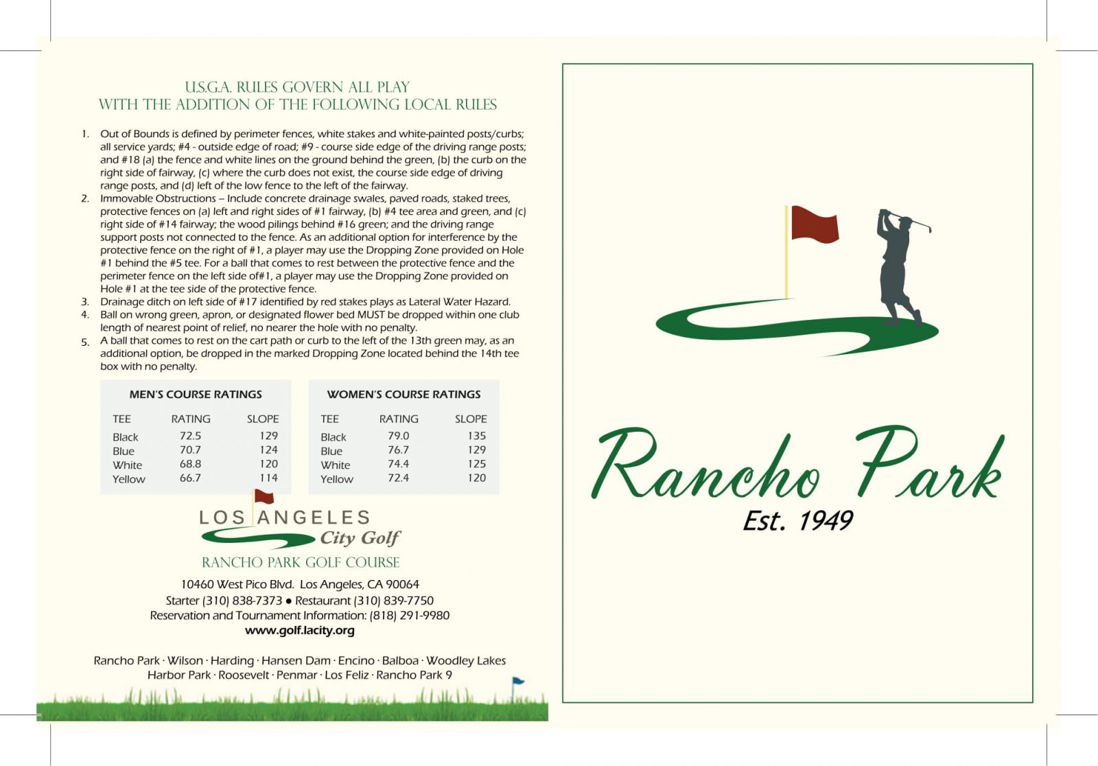 Rancho Park Golf Course scorecard inside