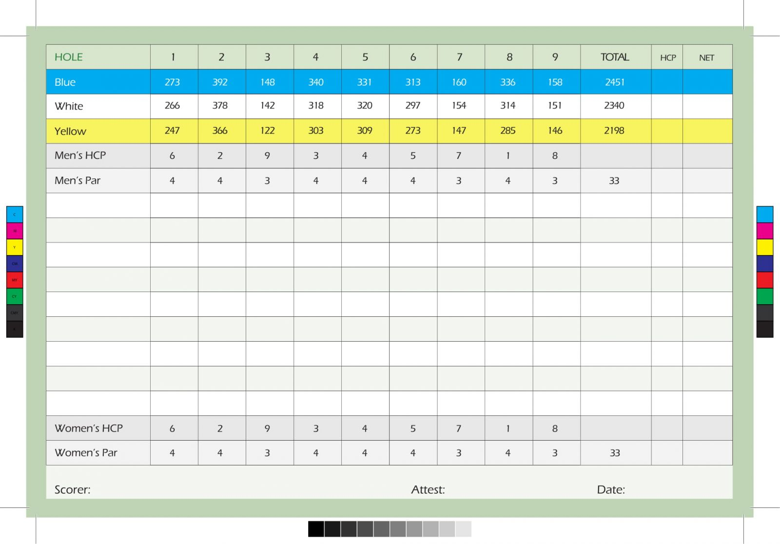 Roosevelt Municipal Golf Course scorecard inside
