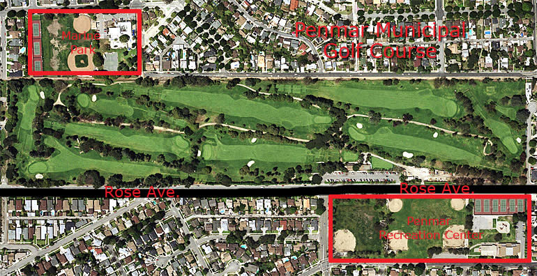 Penmar Municipal Golf Course aerial view